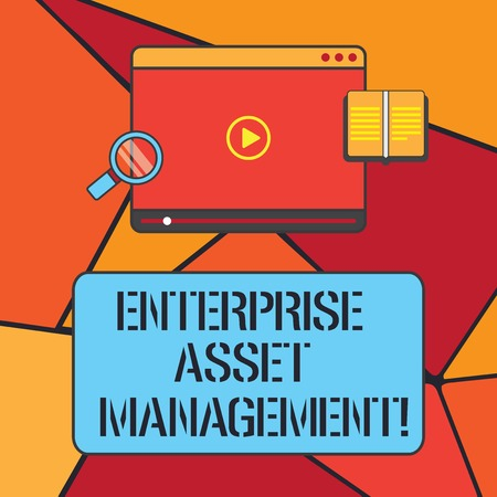 Conceptual hand writing showing Enterprise Asset Management. Business photo showcasing analysisaging the lifecycle of physical assets Tablet Video Player Upload and Magnifying Glass Text Space