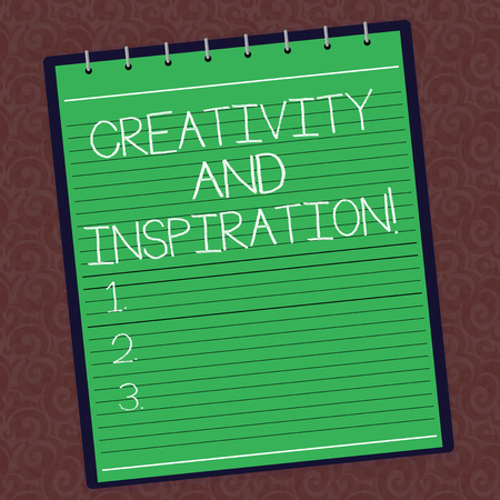 Text sign showing Creativity And Inspiration. Conceptual photo strategy used to make decisions and foster ideas Lined Spiral Top Color Notepad photo on Watermark Printed Background