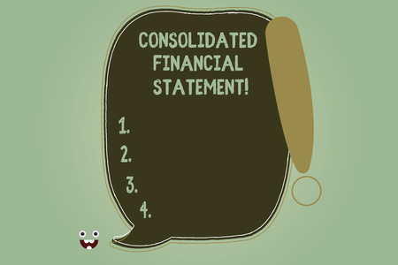 Writing note showing Consolidated Financial Statement. Business photo showcasing Total health of a whole group of companies Blank Color Speech Bubble Outlined with Exclamation Point Stock Photo