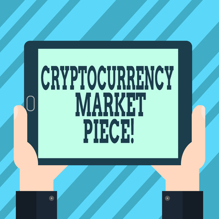 Text sign showing Cryptocurrency Market Piece. Conceptual photo Digital asset that can be exchanged or trade Hu analysis Hand Holding Blank Screen Tablet Smartphone Display Unit photo Фото со стока