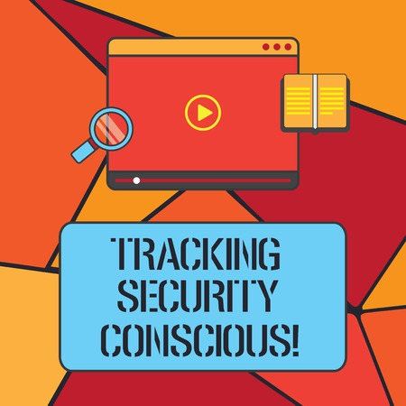 Conceptual hand writing showing Tracking Security Conscious. Business photo showcasing avoid situations that can expose you to danger Tablet Video Player Upload and Magnifying Glass Text Space