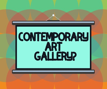 Word writing text Contemporary Art Galleryquestion. Business concept for Private forprofit commercial gallery Blank Portable Wall Hanged Projection Screen for Conference Presentation 写真素材