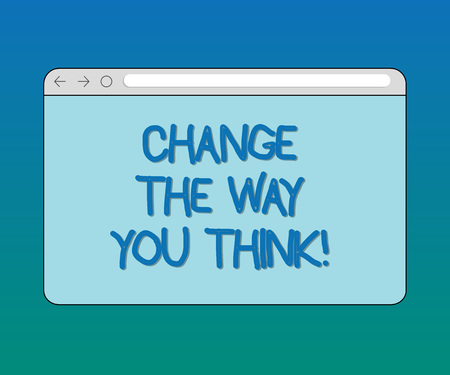 Handwriting text Change The Way You Think. Concept meaning Changing your ideas have imagination to improve Monitor Screen with Forward Backward Progress Control Bar Blank Text Space
