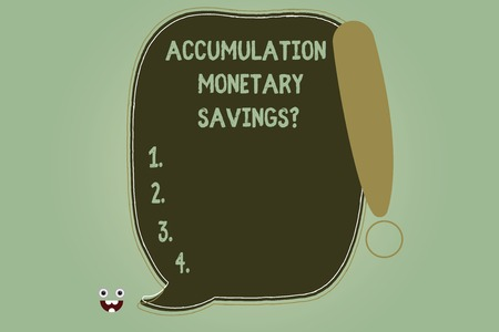 Writing note showing Accumulation Monetary Savingsquestion. Business photo showcasing Increase in financial assets Blank Color Speech Bubble Outlined with Exclamation Point