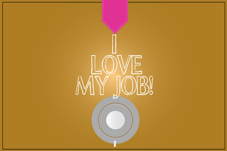 Text sign showing I Love My Job. Conceptual photo Having affection or passionate to the occupation chosen Coffee Cup Saucer Top View photo Reflection on Blank Color Snap Planner Imagens