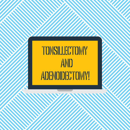 Word writing text Tonsillectomy And Adenoidectomy. Business concept for Procedure in removing tonsil and adenoid Laptop Monitor Personal Computer Device Tablet Blank Screen for Text Space Banco de Imagens - 114195994