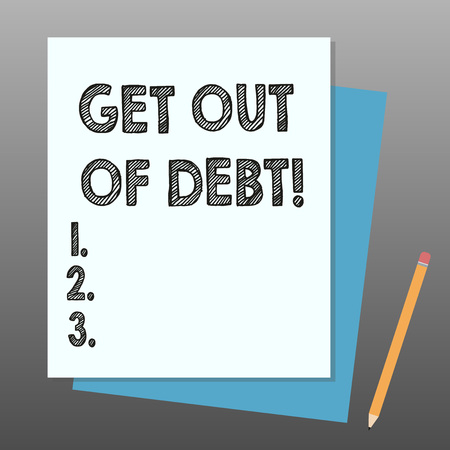 Conceptual hand writing showing Get Out Of Debt. Business photo showcasing No prospect of being paid any more and free from debt Stack of Different Pastel Color Construct Bond Paper Pencil