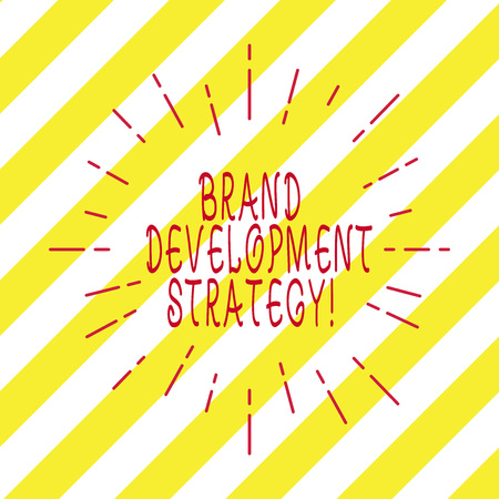 Handwriting text writing Brand Development Strategy. Concept meaning analysis and planning of brand perceive in market Thin Beam Lines Spreading out Dash of Sunburst Radiating on Diagonal Strips