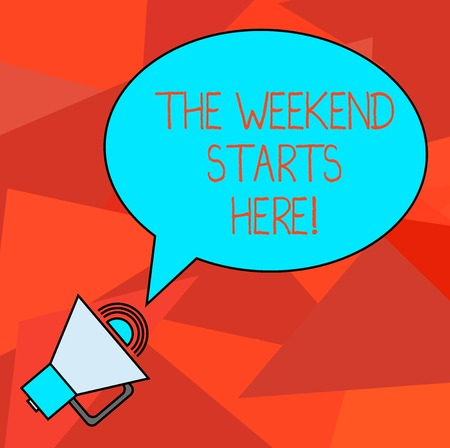 Conceptual hand writing showing The Weekend Starts Here. Business photo showcasing Final of the week starting Friday party celebration Oval Outlined Speech Bubble Text Balloon with Sound icon Stok Fotoğraf