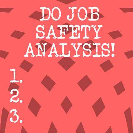 Conceptual hand writing showing Do Job Safety Analysis. Business photo showcasing Business company security analytics control Squares Pattern in Curve Linear Arrangement Halftone photo