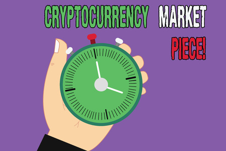 Handwriting text Cryptocurrency Market Piece. Concept meaning Digital asset that can be exchanged or trade Hu analysis Hand Holding Mechanical Stop Watch Timer with Start Stop Button 스톡 콘텐츠