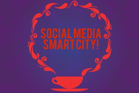Text sign showing Social Media Smart City. Conceptual photo Connected technological advanced modern cities Cup and Saucer with Paisley Design as Steam icon on Blank Watermarked Space
