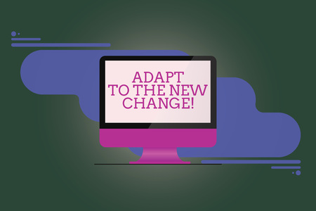 Text sign showing Adapt To The New Change. Conceptual photo Get used to changes different strategies situations Mounted Computer Monitor Blank Reflected Screen on Abstract Background