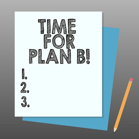 Conceptual hand writing showing Time For Plan B. Business photo showcasing Apply new strategies to obtain success changing plans Stack of Different Pastel Color Construct Bond Paper Pencil