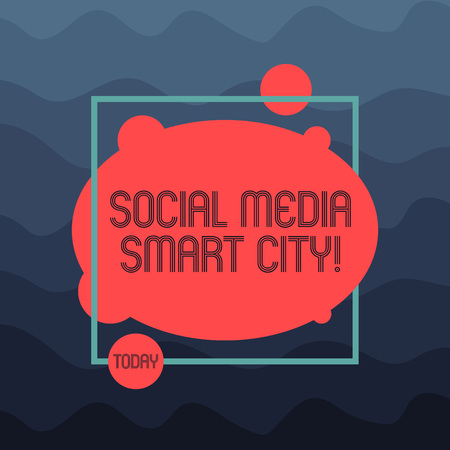 Text sign showing Social Media Smart City. Conceptual photo Connected technological advanced modern cities Asymmetrical Blank Oval photo Abstract Shape inside a Square Outline Banque d'images