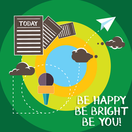 Conceptual hand writing showing Be Happy Be Bright Be You. Business photo text Selfconfidence good attitude enjoy cheerful Information Passing through Cloud Hosting Fast delivery of Data Stok Fotoğraf - 114214162