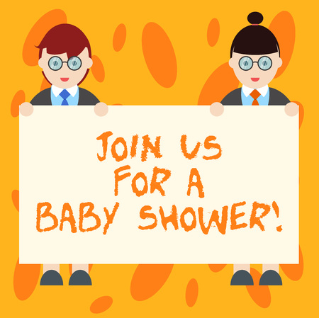 Writing note showing Join Us For A Baby Shower. Business photo showcasing Invitation to celebrate the next baby coming Male and Female in Uniform Holding Placard Banner Text Space