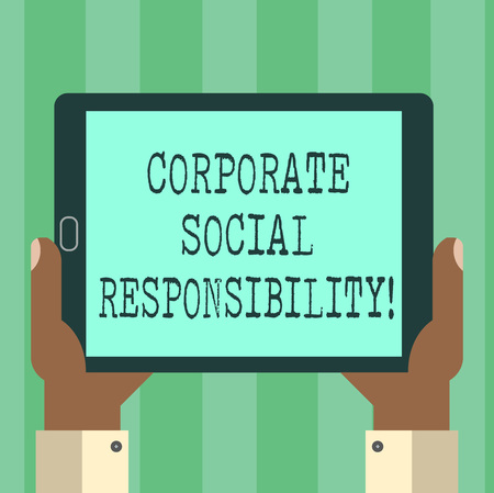 Handwriting text Corporate Social Responsibility. Concept meaning internal organizational policy or strategy Hu analysis Hand Holding Blank Screen Tablet Smartphone Display Unit photo Banco de Imagens