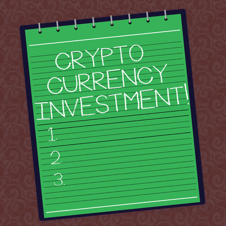 Text sign showing Crypto Currency Investment. Conceptual photo will become a longterm trusted store of value Lined Spiral Top Color Notepad photo on Watermark Printed Background