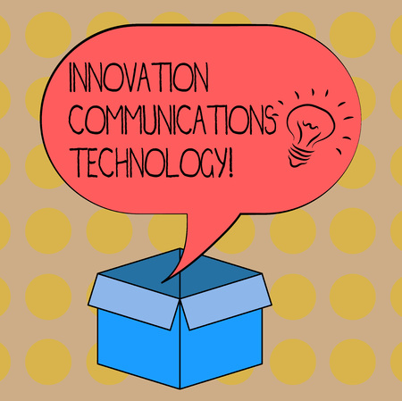 Word writing text Innovation Communications Technology. Business concept for Improvement in services and devices Idea icon Inside Blank Halftone Speech Bubble Over an Open Carton Box 写真素材