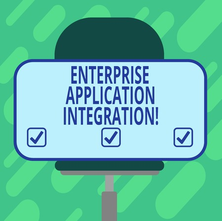 Conceptual hand writing showing Enterprise Application Integration. Business photo showcasing connecting enterprise applications Blank Rectangular Shape Sticker Sitting on a Swivel Chair