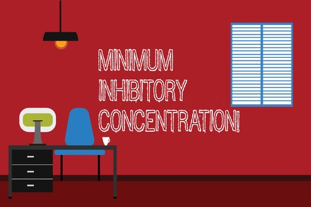 Conceptual hand writing showing Minimum Inhibitory Concentration. Business photo text lowest concentration of a chemical Minimalist Interior Computer and Study Area Inside a Room