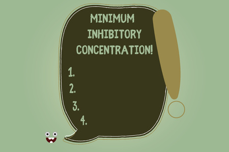 Writing note showing Minimum Inhibitory Concentration. Business photo showcasing lowest concentration of a chemical Blank Color Speech Bubble Outlined with Exclamation Point Banco de Imagens
