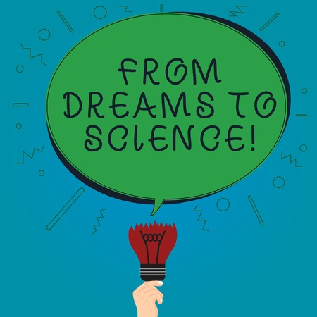 Text sign showing From Dreams To Science. Conceptual photo Imagination transformed in reality technology Blank Oval Color Speech Bubble Above a Broken Bulb with Failed Idea icon