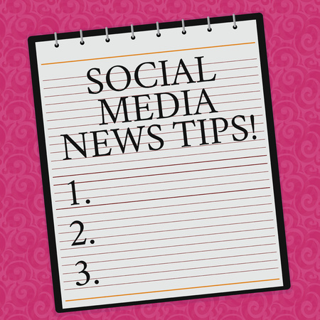 Conceptual hand writing showing Social Media News Tips. Business photo showcasing Internet online communications new ways of knowledge Lined Spiral Color Notepad on Watermark Printed Background
