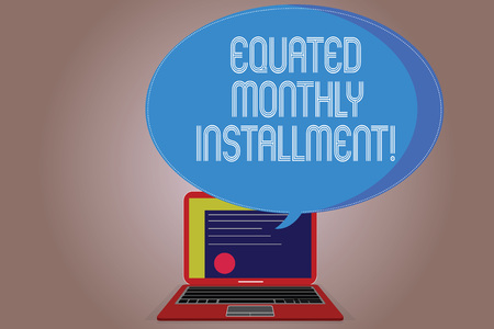 Writing note showing Equated Monthly Installment. Business photo showcasing Constantamount repayment monthly instalments Certificate Layout on Laptop Screen and Halftone Speech Bubble