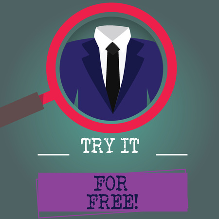 Word writing text Try It For Free. Business concept for Trial at not any cost Offer promotion big discount Magnifying Glass photo Enlarging Inspecting a Tuxedo and Label Tag Below