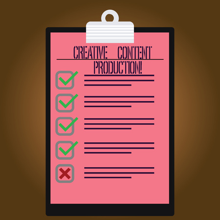 Writing note showing Creative Content Production. Business photo showcasing Developing and creating visual or written assets Lined Color Vertical Clipboard with Check Box photo Blank Copy Space