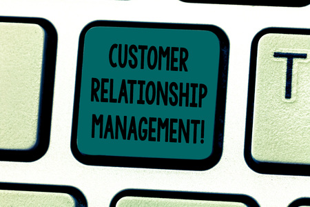 Text sign showing Customer Relationship Management. Conceptual photo analysisage and analyze customer interactions Keyboard key Intention to create computer message pressing keypad idea