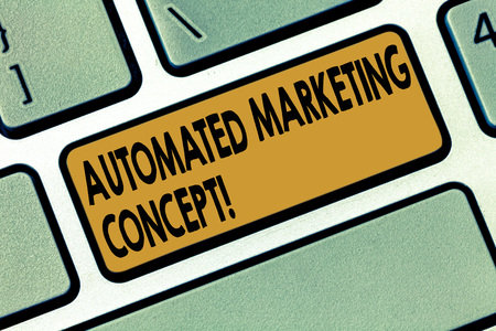 Word writing text Automated Marketing Concept. Business concept for automate repetitive tasks such as emails Keyboard key Intention to create computer message pressing keypad idea Фото со стока