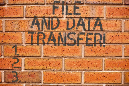 Conceptual hand writing showing File And Data Transfer. Business photo showcasing Transferring information online by the internet