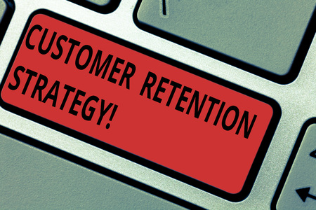 Conceptual hand writing showing Customer Retention Strategy. Business photo text Actions to retain as analysisy customers as possible Keyboard key Intention to create computer message idea