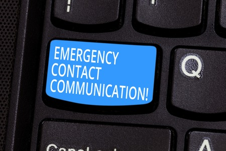 Conceptual hand writing showing Emergency Contact Communication. Business photo text Notification system or plans during crisis Keyboard key Intention to create computer message idea
