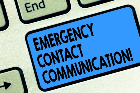 Text sign showing Emergency Contact Communication. Conceptual photo Notification system or plans during crisis Keyboard key Intention to create computer message pressing keypad idea
