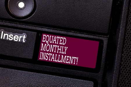 Word writing text Equated Monthly Installment. Business concept for Constantamount repayment monthly instalments Keyboard key Intention to create computer message pressing keypad idea