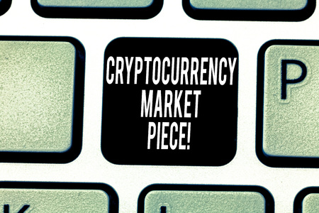 Handwriting text writing Cryptocurrency Market Piece. Concept meaning Digital asset that can be exchanged or trade Keyboard key Intention to create computer message pressing keypad idea