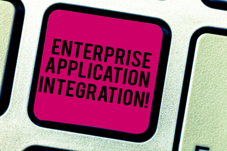 Text sign showing Enterprise Application Integration. Conceptual photo connecting enterprise applications Keyboard key Intention to create computer message pressing keypad idea