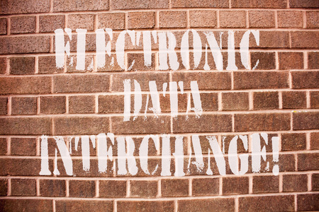 Text sign showing Electronic Data Interchange. Conceptual photo Transfer of data from one computer into another