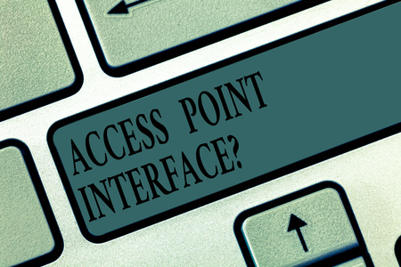 Word writing text Access Point Interfacequestion. Business concept for Allow wireless device to connect to a network Keyboard key Intention to create computer message pressing keypad idea