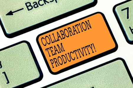 Word writing text Collaboration Team Productivity. Business concept for Set team goals for reaching common vision Keyboard key Intention to create computer message pressing keypad idea