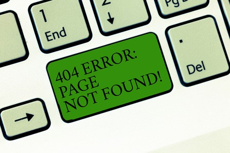 Word writing text 404 Error Page Not Found. Business concept for Webpage on Server has been Removed or Moved Keyboard key Intention to create computer message, pressing keypad idea 免版税图像