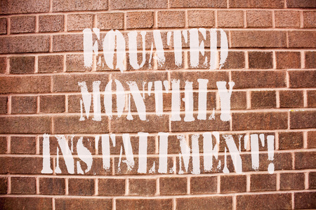 Text sign showing Equated Monthly Installment. Conceptual photo Constantamount repayment monthly instalments Stok Fotoğraf