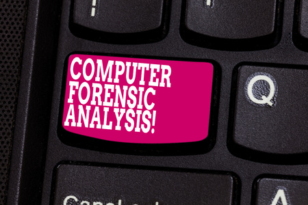 Word writing text Computer Forensic Analysis. Business concept for evidence found in computers and storage media Keyboard key Intention to create computer message pressing keypad idea Stock Photo