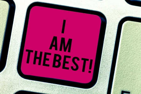 Text sign showing I Am The Best. Conceptual photo Doing well in everything Successful Skilled and top notch Keyboard key Intention to create computer message pressing keypad idea Stock Photo
