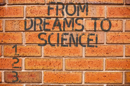 Conceptual hand writing showing From Dreams To Science. Business photo showcasing Imagination transformed in reality technology Standard-Bild