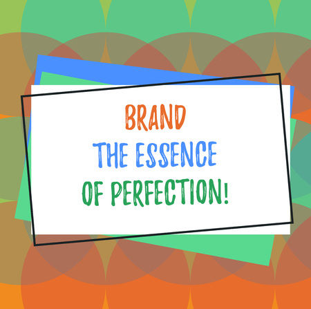 Text sign showing Brand The Essence Of Perfection. Conceptual photo Certificate patent excellence good services Pile of Blank Rectangular Outlined Different Color Construction Paper Stok Fotoğraf
